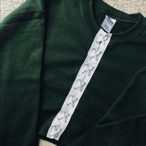 Tops - Forest Green Lace Up Cropped Sweatshirt